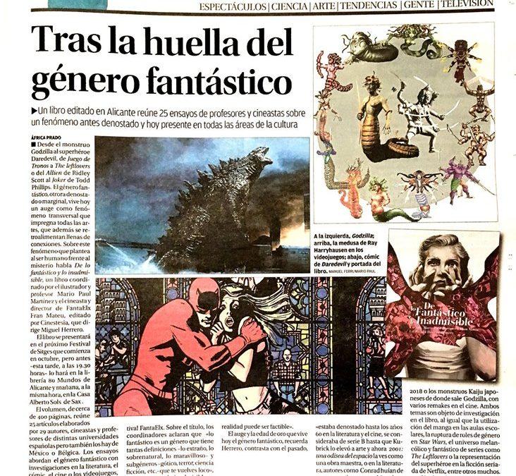 """Nuestro libro """"De lo Fantástico e Inadmisible"""" en portada de Cultura del diario Información."""